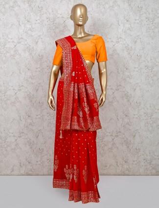 Dola silk red wedding wear saree