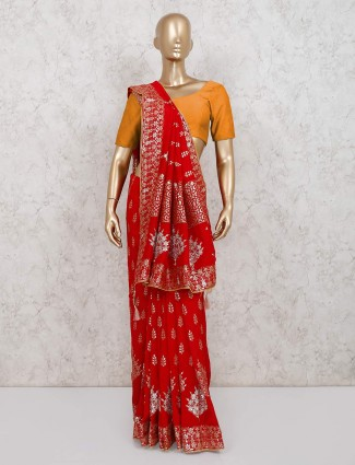 Dola silk saree for weddings in red