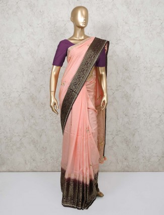 Dola silk saree in peach