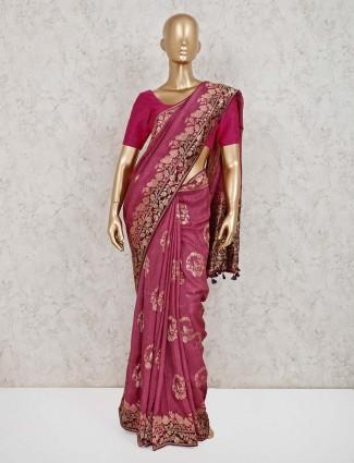 Dola silk violet wedding wear saree
