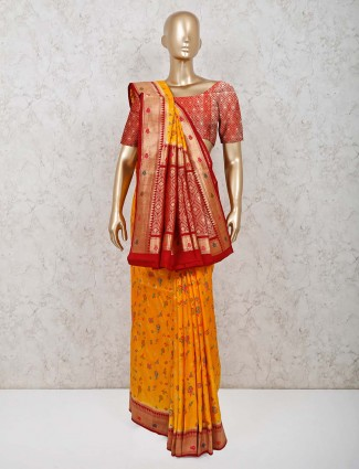 Dola silk wedding saree in yellow