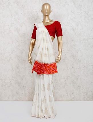 Dola silk white saree for reception wear