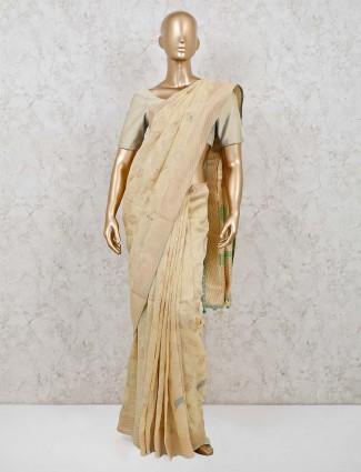 Dola silk yellow reception saree