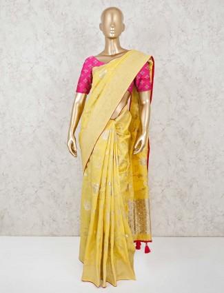 Dola silk yellow zari woven saree for haldi