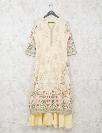 Double layer cream printed kurti in cotton