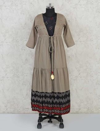 Double layered designer grey salwar suit in cotton silk