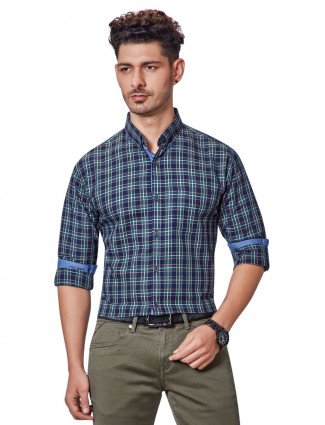 Dragon Hill blue checks slim fit shirt