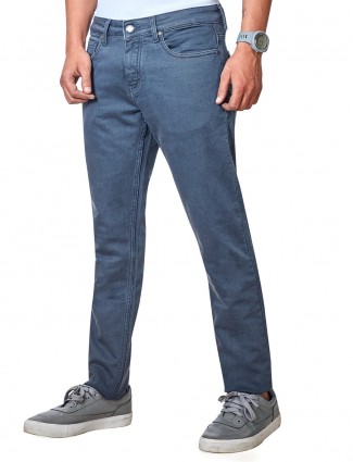 Dragon Hill blue solid slim fit mens jeans