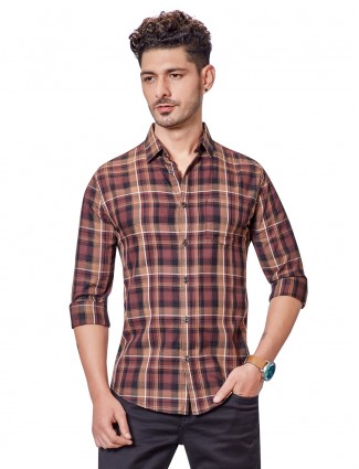 Dragon Hill brown checks casual shirt