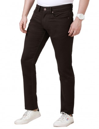 Dragon Hill brown solid slim fit jeans