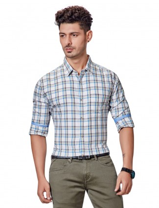 Dragon Hill casual wear beige checks shirt