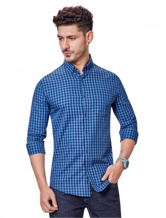 Dragon Hill casual wear checks blue shirt