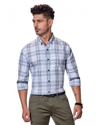 Dragon Hill checks white slim fit shirt