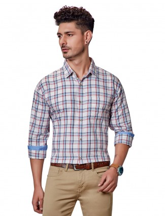 Dragon Hill cream checks slim fit shirt