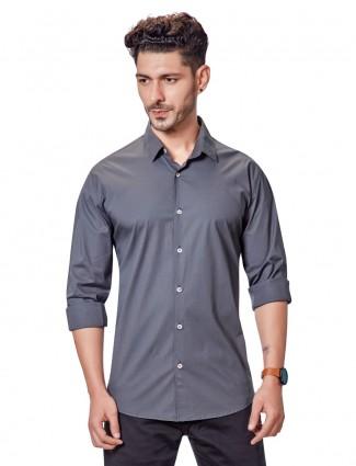Dragon Hill dark grey solid cotton shirt