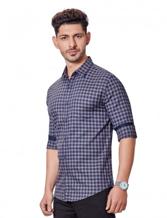 Dragon Hill grey and navy cotton checks shirt