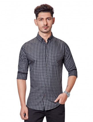 Dragon Hill grey checks cotton shirt