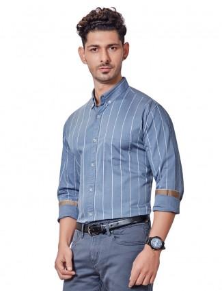 Dragon Hill grey stripe mens shirt
