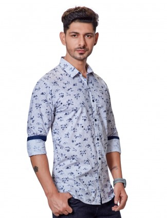 Dragon Hill light blue floral printed shirt