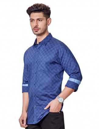 Dragon Hill light blue printed casual shirt