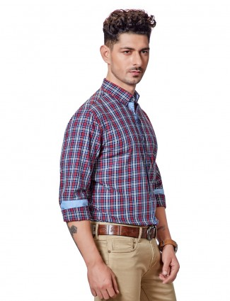 Dragon Hill navy and red cotton checks shirt