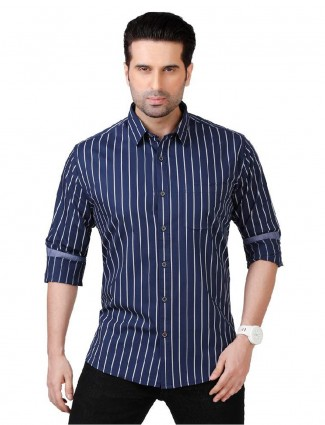 Dragon Hill navy solid cotton shirt