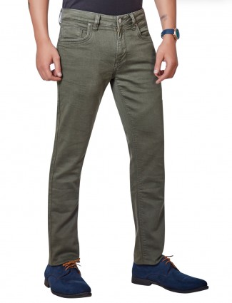 Dragon Hill simple look solid olive jeans
