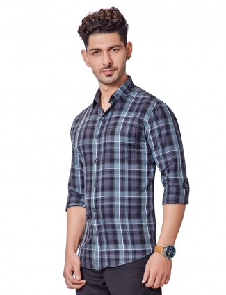 Dragon Hill slim collar grey checks shirt