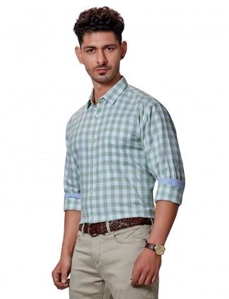 Dragon Hill slim collar pista green checks shirt