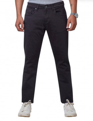 Dragon Hill slim fit solid jet black jeans