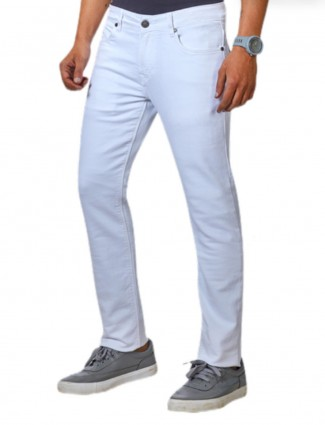 Dragon Hill slim fit solid white jeans