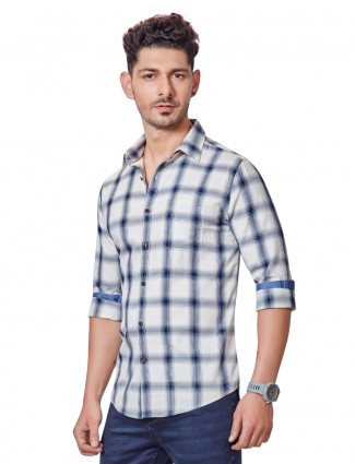 Dragon Hill slim fit white checks shirt