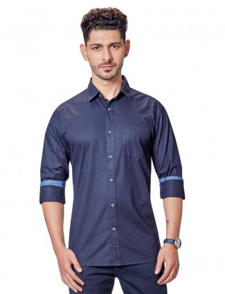 Dragon Hill solid dark navy casual shirt