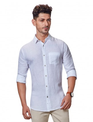 Dragon Hill solid white linen shirt
