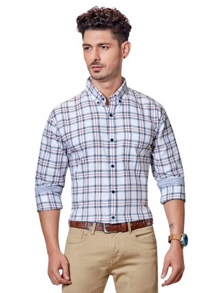 Dragon Hill super white twill checks shirt
