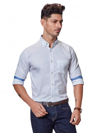 Dragon Hill white cotton solid shirt