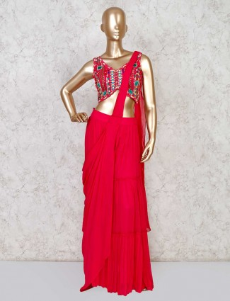 Draped magenta indowestern in georgette