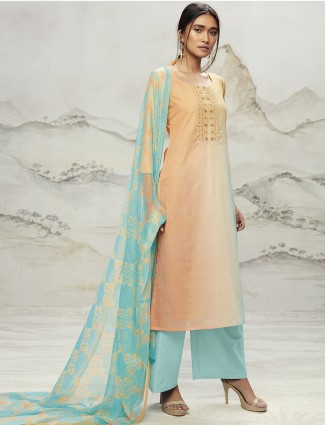 Dress material in peach color