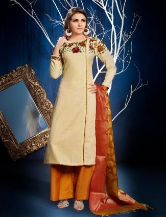 Dressline beige palazzo suit in cotton silk fabirc