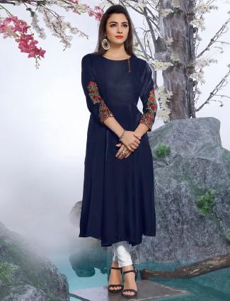 Dressline cotton silk navy kurti