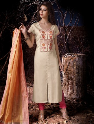 Dressline cream cotton silk festive wear salwar suit