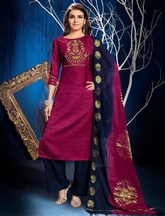 Dressline magenta silk palazzo suit
