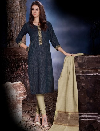 Dressline navy festive wear cotton silk salwar suit