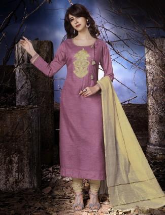 Dressline purple cotton salwar suit