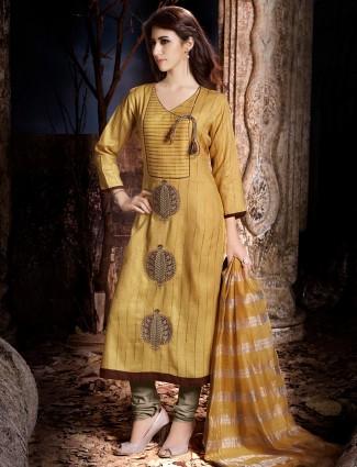 Dressline yellow cotton silk festive wear salwar suit