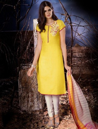 Dressline yellow plain cotton silk salwar suit