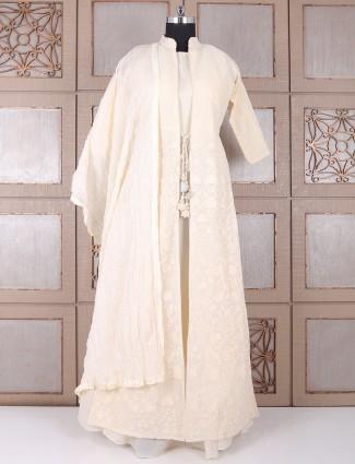 Dressy cream double layred silk salwar suit
