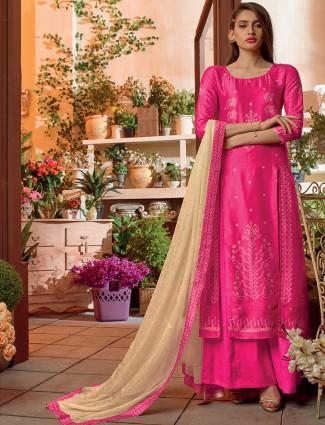 Dressy magenta bhagalpuri silk dress material
