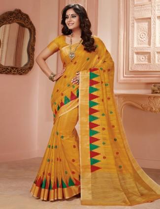 Dressy yellow semi silk saree