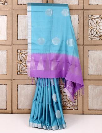 Dull sky blue color silk saree
